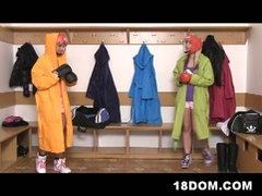 Femdom boxer teens share skinny dude's big hard dick