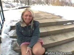 Blond Outdoors In The Snow Flashing Tits And Pussy