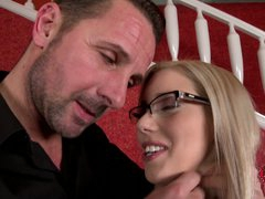 Nesty is a sexy real estate agent in glasses. She is one on one with sexually excited stud that whips out his sausage for her. She takes his snake in her European mouth eagerly.