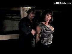 Breasty Girl With Mouthgag Stripping Getting Tied Up Pussy Stimulated With Vibrator In The Dungeon