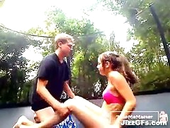 Legal age teenager Receives A Creampie On The Trampoline