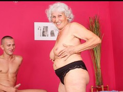 Breasty grandma sucks dong and gets drilled by a youthful fellow