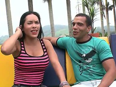 Young girl Celeste is being seduced on camera by her boyfriend outside in public