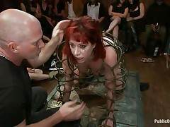 redhead milf in a cage humiliated and fucked