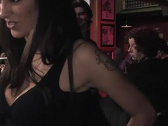 Chubby slutty bitch is involved in a nasty and hard core orgy