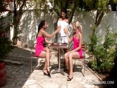 Three lesbian babes have hot romantic action in the garden