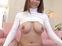 Lewd Asian with large merry boobs thrills with wet oral job