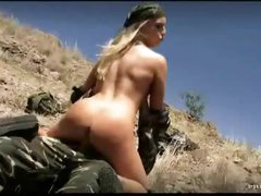 Camo clothes on anal couple outdoors
