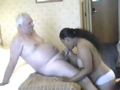 Plump babe from India grinding on white old man's meaty cock