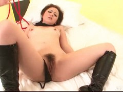 Dark brown babe in boots and light thraldom fingered