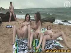 Real amateur outdoor lesbo threesome