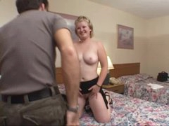 Cute girl in hotel room sucks cock