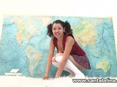 Hot naughty latin sweetheart masturbating while taking geography test