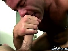 Mature homosexual masseur gives cook jerking to straight client