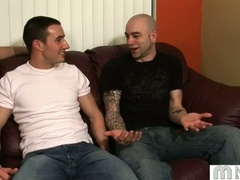 Three homosexual guys talk and start fondling and kissing