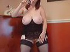 Huge titted redhead plays