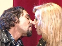 Nasty blonde tranny bitch makes out with a tattooed stud and gets nailed