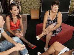 Three older sluts share one hard shlong