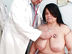 busty brunette hair gets played by doctor