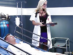 blonde doctor waves her ass in patient's face