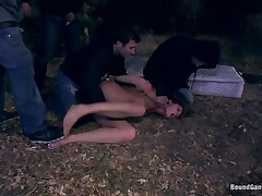 cute girl team-fucked by three men outdoor