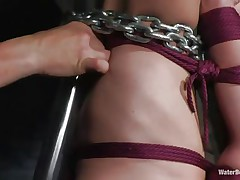 cutie tied with chains and submersed