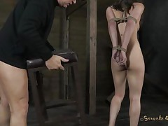 trashy milf fastened on chair and mouth fucked