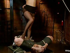 tied blond milf dominated and face fucked by her mistress