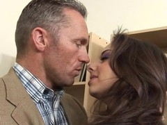 Very horny sexy teacher fucks the shit out of his hot student chick