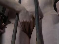 Hard punishment to bald head slut in cage
