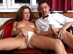 German babe takes a big cock