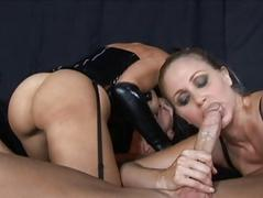 Brunette hair and blonde milfs sucking cock and fucking hard