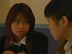 Japanese girls in skirts make out