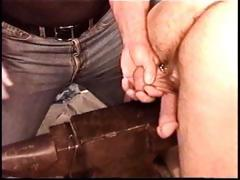 Hot muscle stud Derek Da Silva gets balls bashed on steel anvil.