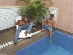 Two chaps seduce tgirl outdoors