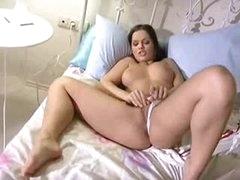 Hot masturbating Euro girl in daybed