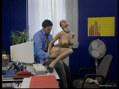 Hot Brunette hair Secretary Bonks Her Boss In The Office