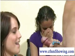 Sexually excited cfnm girls playing with cock at the hair studio