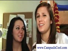 Lesbian college girls in naked dorm enjoyment