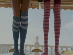 Slim babes in socks enjoying free time