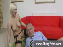 Stocking wearing youngster gets creampie by old perverted man