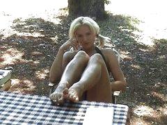 Hot footjob in a tent