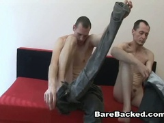 Bareback homosexual lovers hardcore anal fucking couch adventure
