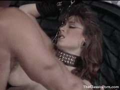 Horny girl in collar and leash drilled hard