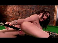 Leather boots cutie sex with pool cue