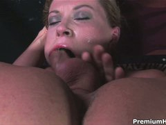 Hot woman Sara Stone with big milk cans gets her throat screwed with no lenience by guy with unyielding cock. She takes his meat pole so deep that touches his balls with her lips from time to time.