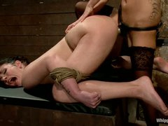 Andy San Dimas is back again as a thrall girl. Sexy dark brown receives restrained. tortured and ruthlessly strapon fucked by hot blooded lesbian female-dom Gia Dimarco.