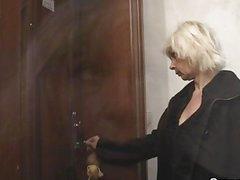 Blonde granny allows him drill her slit