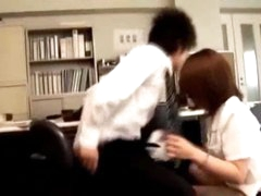 Office Lady Giving Blowjob Fingered While Bending To The Desk In The Office