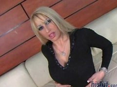 Candy Manson is a long legged blonde with a pierced clitoris and a fantastic rack